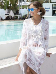Хлопковое белое платье туника на лето на длинный рукав с перфорацией