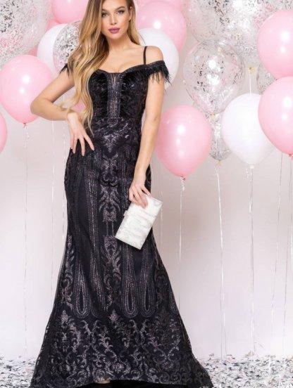 Длинное черное нарядное блестящее вечернее платье, фото 1