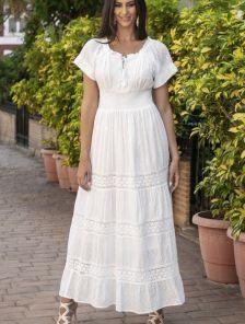 Хлопковое нарядное белое нарядное платье сарафаен с кружевом на короткий рукав