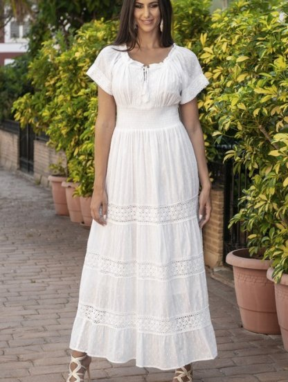 Хлопковое нарядное белое нарядное платье с кружевом на короткий рукав, фото 1