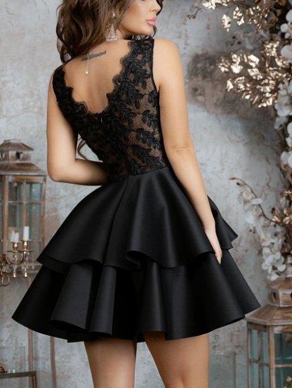 Черное нарядное короткое платье с пышной юбкой, фото 1