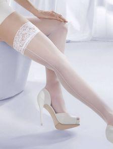 Свадебные белые чулки на силиконовой резинке со стрелкой