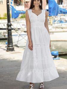 Хлопковое белое нарядное платье сарафан на широких бретелях налето