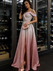 Длинное нарядное блестящее вечернее платье на выпускной с разрезом