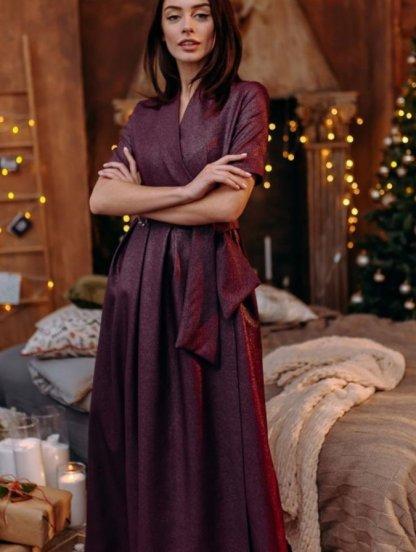 Длинное блестящее платье в пол цвета марсала с коротким рукавом, фото 1