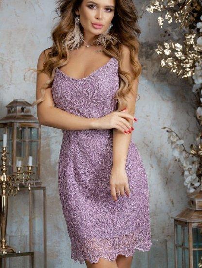Эффектное праздничное короткое лиловое платье футляр на бретелях, фото 1