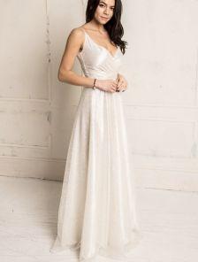 Длинное нарядное белое свадебное блестящее вечернее платье