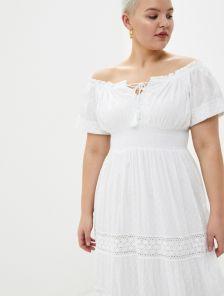 Хлопковое белое нарядное платье сарафаен с кружевом на короткий рукав