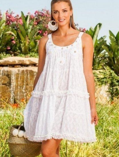 Белое летнее платье туника с вышивкой ракушками, фото 1