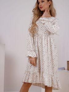 Яркое летнее белое платье с принтом и оборкой до колен
