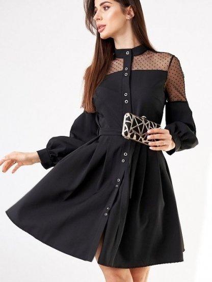 Нарядное черное короткое платье с объемным рукавом и сеткой, фото 1
