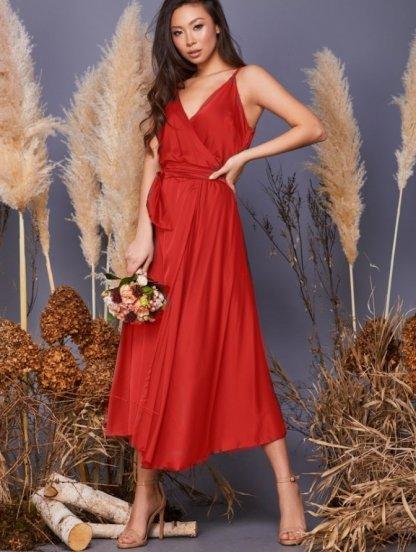 Красное летнее шелковое коктейльное платье миди, фото 1