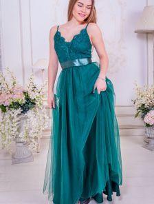 Вечернее пышное кружевное зеленое платье в пол с фатиновой юбкой на бретелях