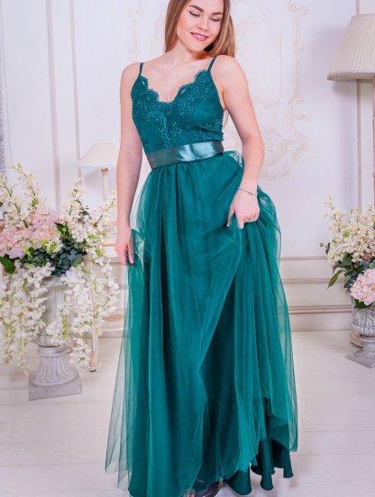 Вечернее пышное кружевное зеленое платье в пол с фатиновой юбкой на бретелях, фото 1