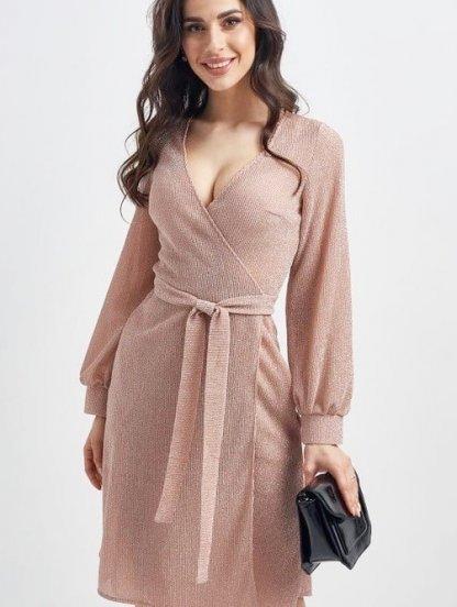 Нарядное короткое блестящее платье на запах цвета пудры, фото 1