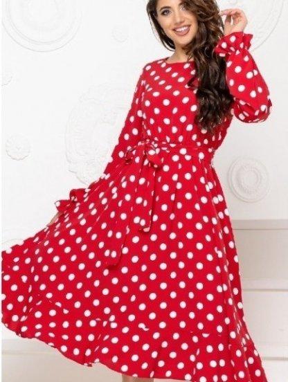 Женское коктейльное красное платье миди в горошек, фото 1