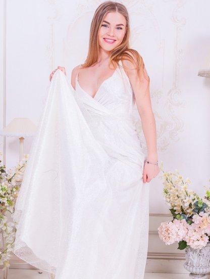Длинное нарядное белое платье в пол, фото 1