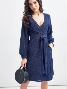 Нарядное короткое синее блестящее платье на запах