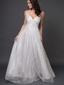 Длинное нарядное белое платье в пол