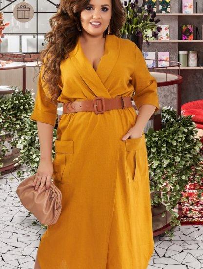 Большое светлое льнянное длинное платье на работу, фото 1