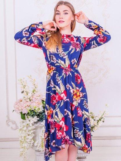 Синее короткое платье с цветами на длинный рукав, фото 1