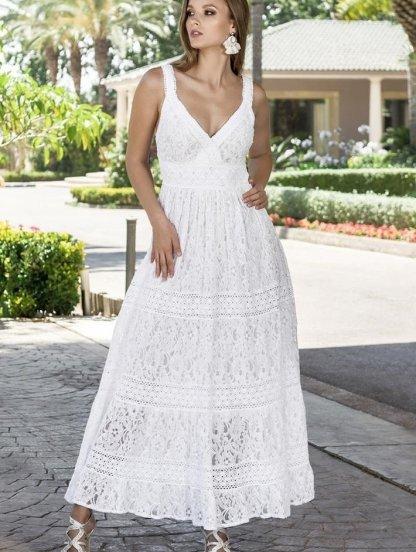Хлопковое длинное белое нарядное платье на бретелях на лето, фото 1