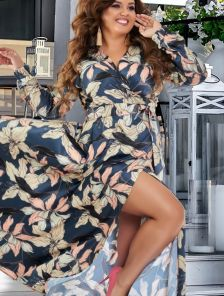 Нарядное шелковое платье большого размера в цветы