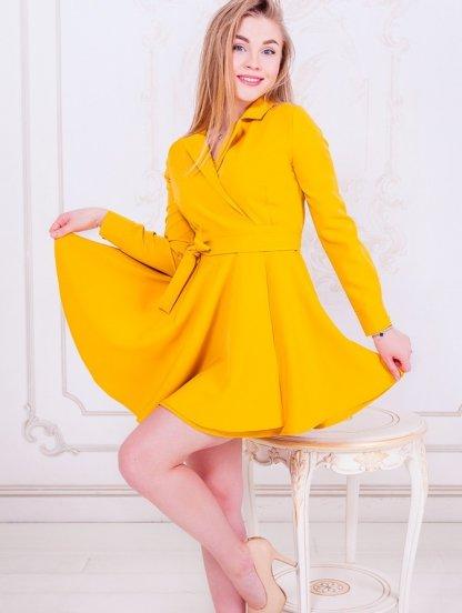 Короткое яркое мини платье с запахом и пышной юбкой, фото 1