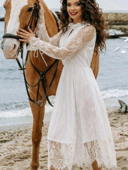 Белое коктейльное кружевное платье на длинный рукав, фото 1