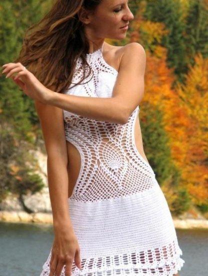 Белое вязаное пляжное платье с открытой спиной, фото 1