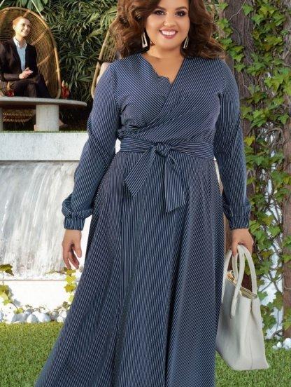 Длинное платье большого размера в полоску, фото 1