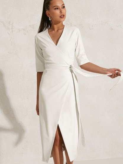 Нарядное белое платье миди длины на праздник, фото 1