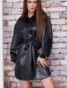 Короткое черное кожаное платье в офис