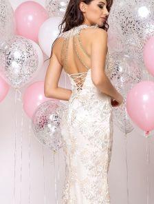 Длинное нарядное блестящее кружевное вечернее платье на выпускной