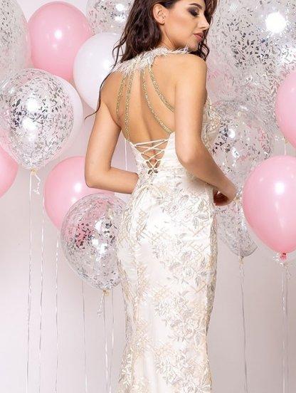 Длинное нарядное блестящее кружевное вечернее платье на выпускной, фото 1