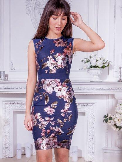 Синее короткое платье футляр с цветочным принтом, фото 1