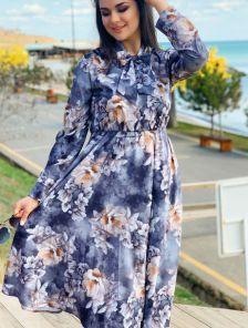 Нарядное серое летнее платье с цветами и длинным рукавом