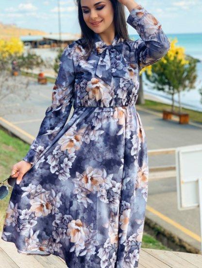 Нарядное серое платье миди с цветами и рукавом, фото 1