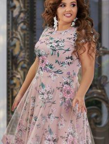 Нарядное платье большого размера с коротким рукавчиком