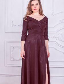 Вечернее длинное платье большого размера с коротким рукавом