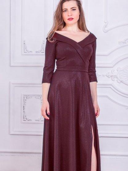 Вечернее длинное платье большого размера с коротким рукавом, фото 1