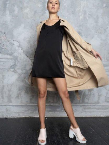 Короткое черное шелковое платье в бельевом стиле, фото 1