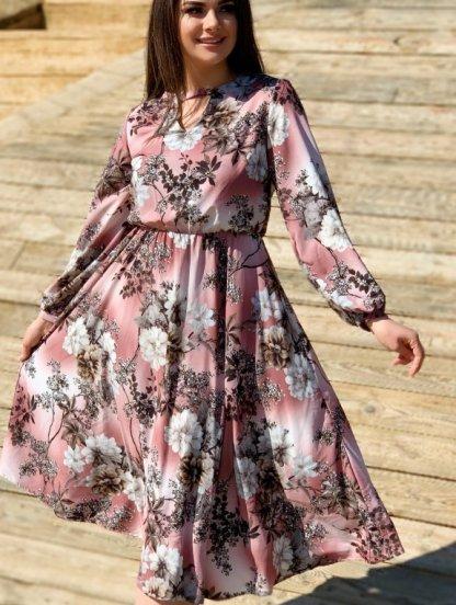 Нарядное светлое платье миди с цветами и рукавом, фото 1