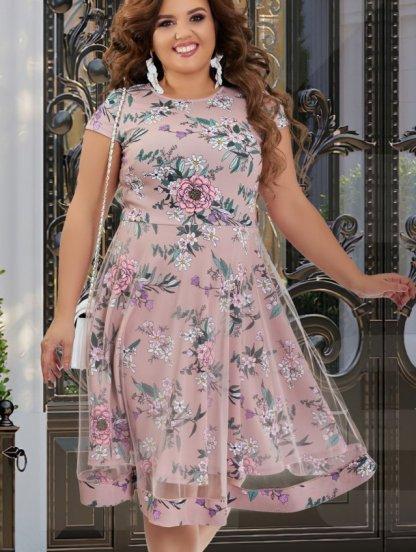 Нарядное платье большого размера с коротким рукавчиком, фото 1