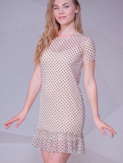Короткое романтичное платье в горох на короткий рукав, фото 1