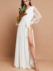 Белое нарядное пудровое платье в пол на длинный рукав на роспись