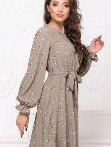 Летнее светлое платье до колен с принтом на длинный рукав