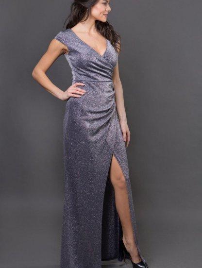 Длинное нарядное блестящее синее платье с разрезом на выпускной, фото 1