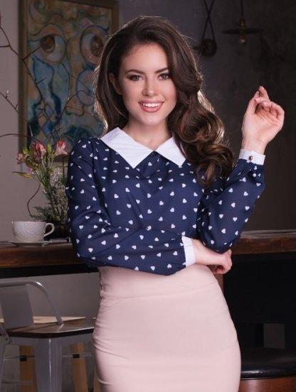 Стильная шифоновая блуза с длинным рукавом в синем чвете, фото 1