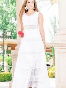 Хлопковое длинное белое нарядное платье с кружевом на лето